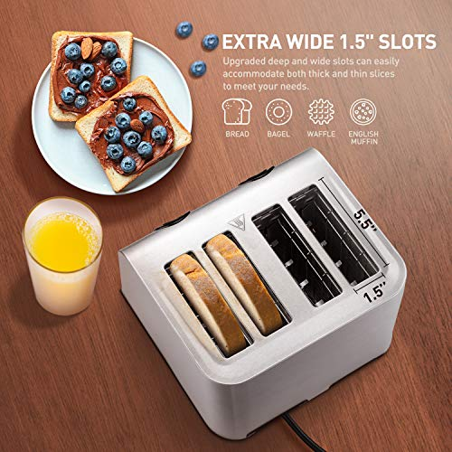 Toaster 4 Slice Best Rated Prime, NOVETE Retro Style Brushed Stainless Steel Toaster Toaster 4 Slice Best Rated Prime, NOVETE Retro Style Brushed Stainless Steel Toaster, 1.5'' Extra-Wide Slot, 7 Shade Settings, Defrost/Reheat/Cancel Functions, Compact Bread Toaster for Breads/Bageles.