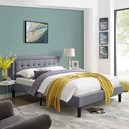 Vibe Mornington Upholstered Platform Bed | Headboard and Metal Frame with Wood Slat Support, Full, Grey