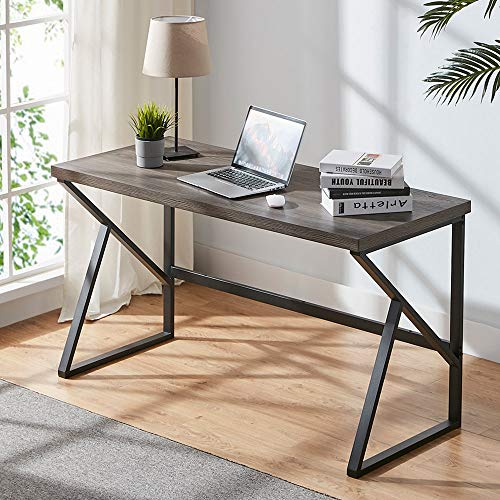 HSH Rustic Computer Desk, Metal and Wood Home Office Desk, Industrial Vintage Soho Study Writing Table, Gray 47 inch