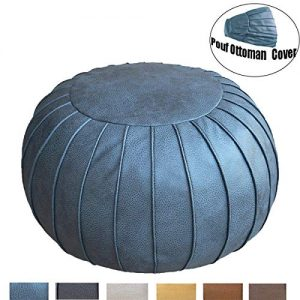 "Thgonwid Unstuffed Handmade Suede Pouf Footstool Ottoman Faux Leather Poufs 23"" x 14"" -Round Floor Cushion Footstool for Living Room, Kids Room and Wedding (Grey Blue)"