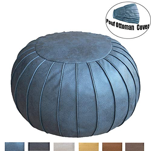 """Thgonwid Unstuffed Handmade Suede Pouf Footstool Ottoman Faux Leather Poufs 23"""" x 14"""" -Round Floor Cushion Footstool for Living Room, Kids Room and Wedding (Grey Blue)"""