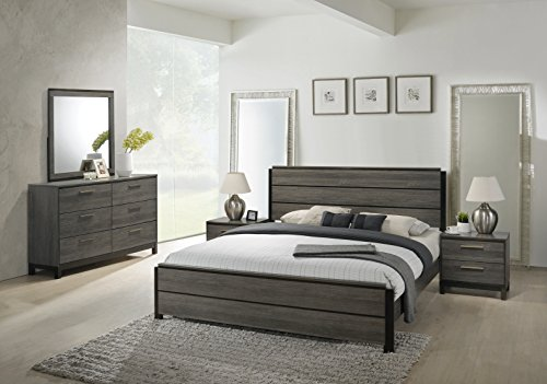 Roundhill Furniture Ioana 187 Antique Grey Finish Wood Bed Room Set, King Size Bed, Dresser, Mirror, 2 Night Stands