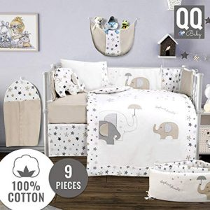 Baby Crib Bedding Set - 100% Turkish Cotton - 9 Piece Nursery Crib Bedding Sets for Boys & Girls - Elephant Design - 4 Color Variations by QQ Baby (Beige & Gray)