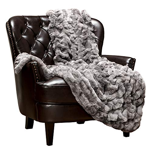 Chanasya Ruched Royal Faux Fur Throw Blanket - Fuzzy Plush Elegant Blanket for Sofa Chair Couch and Bed with Reversible Velvet Blanket (50x65 Inches) Dark Gray