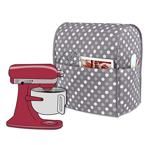 Luxja Dust Cover Compatible with 6-8 Quart Stand Mixer, Cloth Cover with Pockets for Stand Mixer and Extra Accessories (Compatible with 6-8 Quart Stand Mixer), Gray Dots