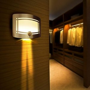 SUNNIOR Wall Lamp, Aluminum LED Motion Sensor Sconce Battery Powered Adjustable Brightness,Stick-on Anywhere