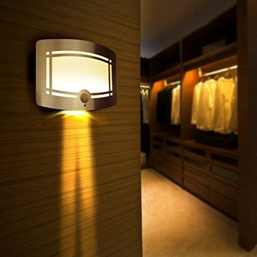 SUNNIOR Wall Lamp, Aluminum LED Motion Sensor Sconce Battery Powered Adjustable Brightness,Stick-on Anywhere