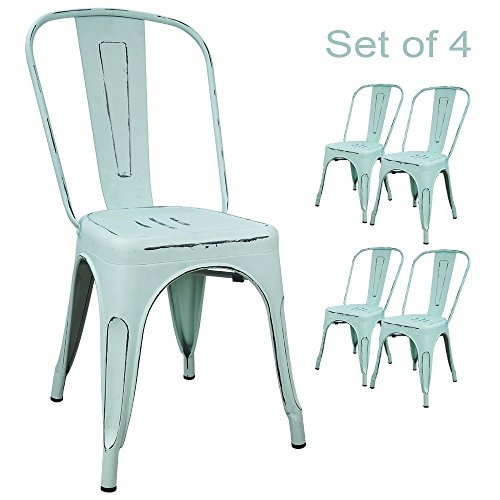 Devoko Metal Indoor-Outdoor Chairs Distressed Style Kitchen Dining Chairs Stackable Side Chairs with Back Set of 4 (Blue)