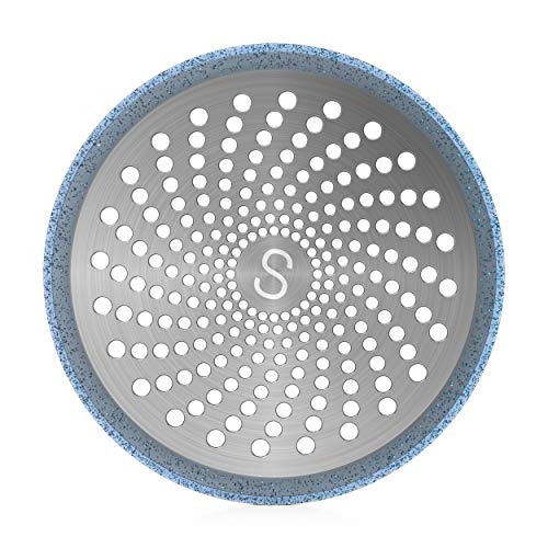 STAN BOUTIQUE Drain Hair Catcher/Strainer/Trap/Stopper | Shower Stall Drain Protector - Stainless Steel and Silicone, 4.7 Inches - Blue