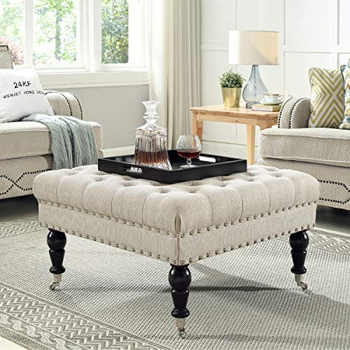 24KF Large Square Upholstered Tufted Button Linen Ottoman Coffee Table, Large Footrest Bench with Caters Rolling Wheels-Ivory