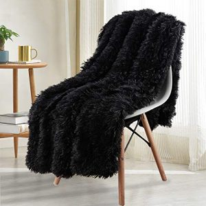 Noahas Shaggy Longfur Throw Blanket with Sherpa Warm Underside, Super Soft Cozy Large Plush Fuzzy Faux Fur Blanket, Lightweight and Washable Kids Girls Room Decorative Blanket, 50''x60'', Black