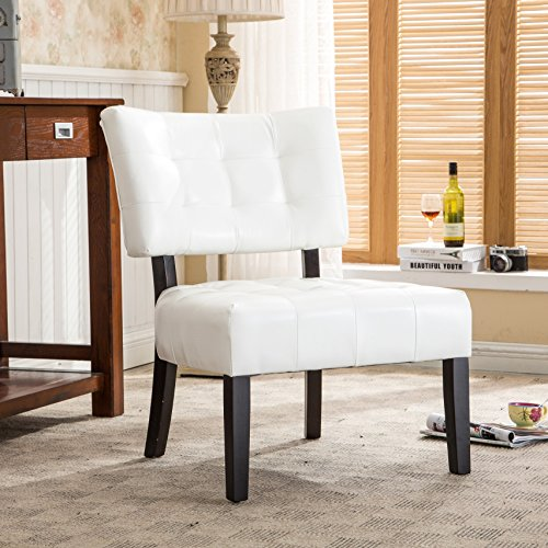 Roundhill Furniture Blended Leather Tufted Accent Chair with Oversized Seating, Ivory