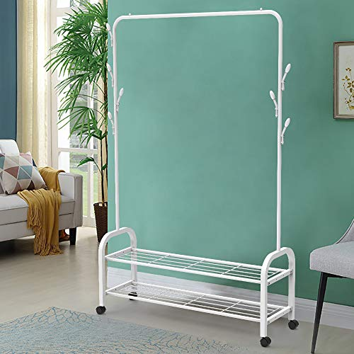 BAIYEA Clothing Rack on Wheels Clothes Rack with Shelves, 2-Shelf Metal Wire Hall Tree Coat Rack Freestanding, Entryway Coat Tree Shoe Rack Storage Bench Organizer, 3 in 1 Design Easy Assembly (White)