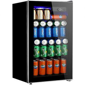 Beverage Refrigerator and Cooler - 3.2 Cu. Ft. Drink Fridge with Glass Door for Soda, Beer or Wine - Small Beverage Center with 3 Removable Shelves for Office/Man Cave/Basements/Home Bar