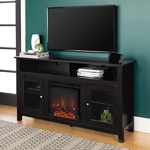 """Walker Edison Furniture Company Rustic Wood and Glass Tall Fireplace Stand for TV's up to 64"""" Flat Screen Living Room Storage Cabinet Doors and Shelves Entertainment Center, 32 Inches, Black"""