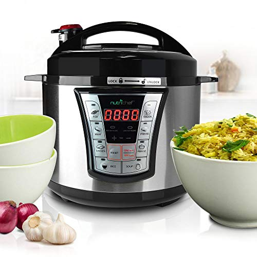 NutriChef Electric Pressure 5 Quart Programmable Multi-Cooker with Digital Display   R Small Countertop Appliance, 5 Qt Capacity, Stainless Steel