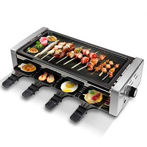 Electric Raclette Grill Outdoor and Indoor,Smokeless Grill with Removable Easy-to-Clean Nonstick Plate, Extra-Large Drip Tray, Cheese Raclette Table Grill