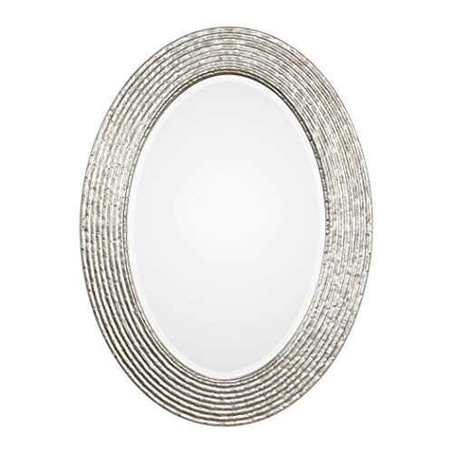 MY SWANKY HOME Elegant Silver Ribbed Organic Style Wall Mirror | Oval Twig Reeded Vanity Modern