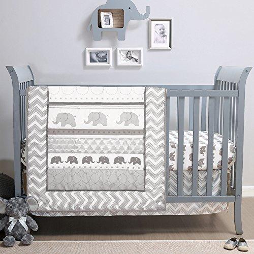 Elephant Walk 4-Piece Jungle Geometric Chevron Grey Neutral Baby Crib Bedding Set by Belle
