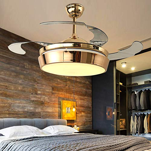 """A Million 42"""" Modern Ceiling Fan with Lights Luxury Acrylic Retractable Blades Remote LED Gold Chandelier Three Speeds Three Color Changes Lighting Fixture, Silent Motor with LED Lights Included"""