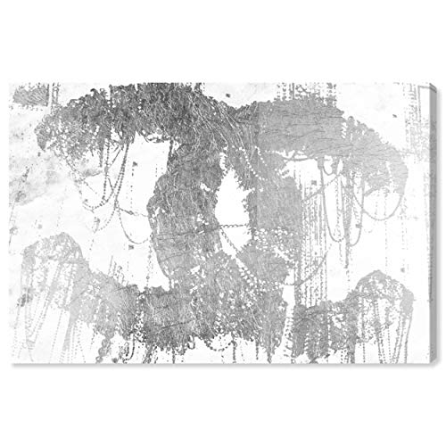 """The Oliver Gal Artist Co. Fashion and Glam Wall Art Canvas Prints 'Hey Lolita Silver' Home Décor, 15"""" x 10"""", Gray, White"""
