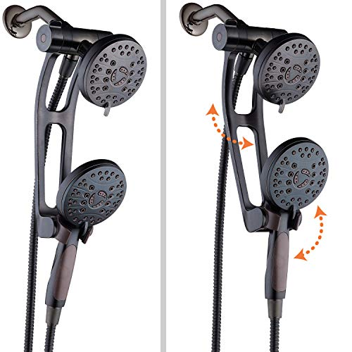 AquaSpa High Pressure 48-mode Luxury 3-way Combo with Adjustable Extension Arm – Dual Rain & Handheld Shower Head – Extra Long 6 Foot Stainless Steel Hose – All Oil Rubbed Bronze Finish – Top US Brand