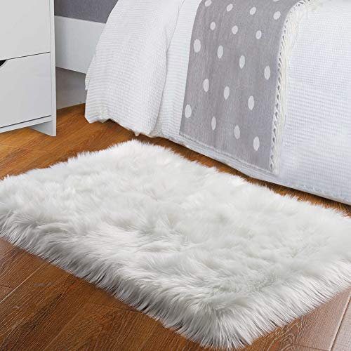 Homore Luxury Faux Fur Sheepskin Fluffy Area Rug, Extra Comfy and Furry Carpet, Thick Washable Plush Soft Rugs for Bedroom Living Room Bed Side Home, 2x3 Feet White