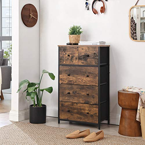 SONGMICS Rustic Drawer Dresser, Storage Dresser Tower with 5 Fabric Drawers Bundle Dimensions: 22.1 x 11.eight x 35.2 inches