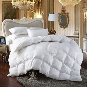 Premium All-Season King Size Luxury Siberian Goose Down Comforter Duvet Insert 750FP 1200 Thread Count 100% Egyptian Cotton (King, White Solid)