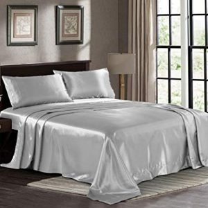 Satin Sheets Queen [4-Piece, Grey] Hotel Luxury Silky Bed Sheets - Extra Soft 1800 Microfiber Sheet Set, Wrinkle, Fade, Stain Resistant - Deep Pocket Fitted Sheet, Flat Sheet, Pillow Cases