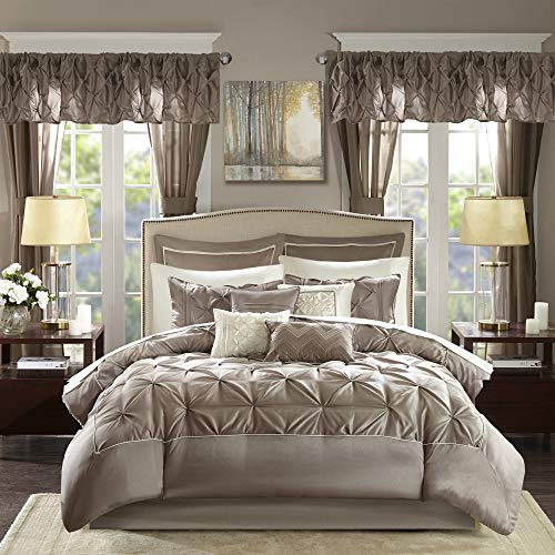 Madison Park Essentials Joella 24 Piece Room in a Bag Comforter Luxurious Diamond Tufting Matching Curtains Luxe Soft Down Alternative Hypoallergenic All Season Bedding-Set, King, Taupe