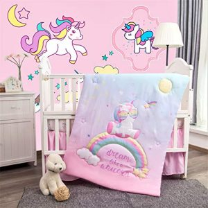 La Premura Unicorn Baby Nursery Crib Bedding Set for Girls – Baby Unicorn & Rainbows 3 Piece Standard Size Crib Bedding Sets in Pink, Yellow & Green