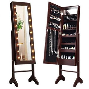 Giantex Standing Jewelry Armoire with 18 LED Lights Around The Door, Large Storage Mirrored Jewelry Cabinet with Full Length Mirror, 16 Lipstick Holder, 1 Inside Makeup Mirror (Brown)