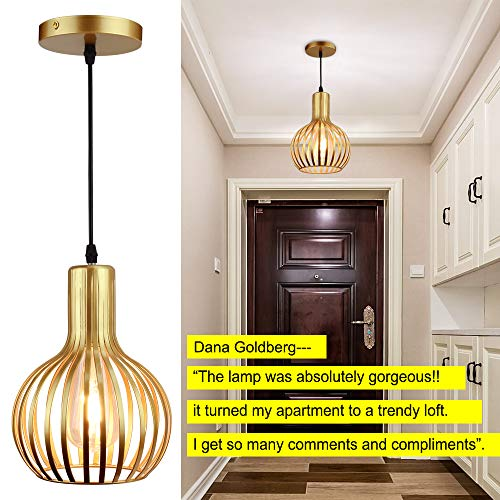 DLLT Brass Pendant Ceiling Lights Fixtures, Classic Pendant Lamp, E26 Industrial Metal Hanging Pendant Led Lighting for Kitchen, Bedroom, Dining Room, Hallway, Loft, Restaurant, Bar, Entryway