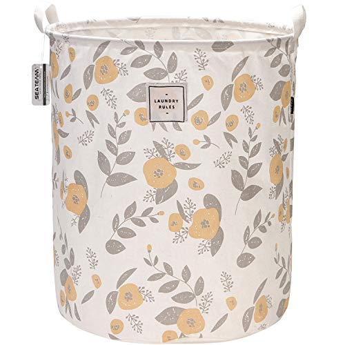 """Sea Team 19.7"""" x 15.7"""" Large Sized Folding Cylindric Canvas Fabric Laundry Hamper Storage Basket with Floral Pattern, Yellow & Grey"""