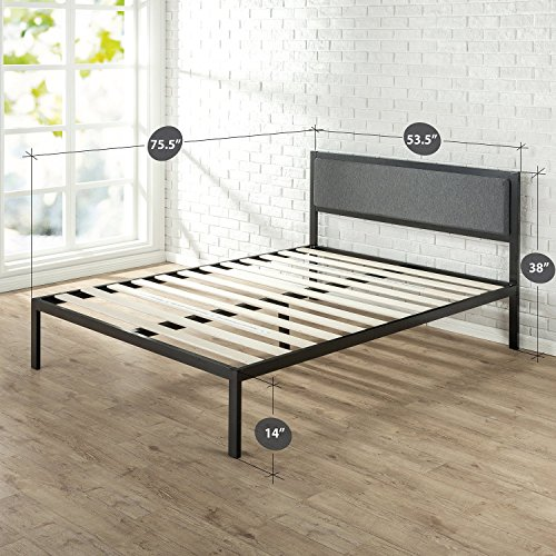 Zinus Korey 14 Inch Platform Metal Bed Frame with Upholstered Headboard Bundle Dimensions: 75.5 x 53.5 x 14.zero inches