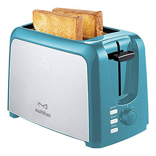 2 Slice Toaster Stainless Steel Toaster with Warm Rack, Removable Crumb Tray, 7 Bread Shade Settings, Reheat/Cancel/Defrost Function, Extra Wilde Slot for Bagels, Waffle UL Certified