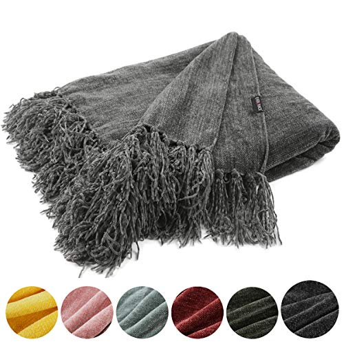EverGrace Fluffy Cozy Chenille Throw Blanket with Decorative Fringe 60 x 50 Luxury Tassel Throw Blanket for Couch Sofa Chair Bed Office Home Décor Grey