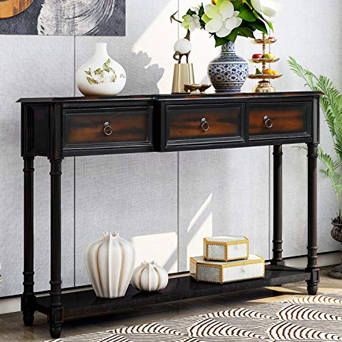 Console Table Sideboard Table with 3 Drawers Luxurious and Exquisite Design for Entryway with Projecting Drawers and Long Shelf (Espresso)