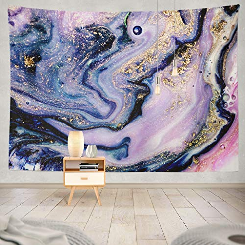 Soopat Tapestry Polyester Fabric Art Gold Natural Luxury Gouache Wall Hanging Tapestry Decorations Bedroom Living Room Dorm 80X60 Inch
