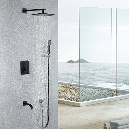 Black,Brass,Shower System with High Pressure 8 Inch Square Rainfall Shower Head Model: Maxsum