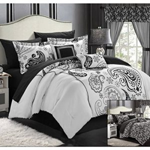 Chic Home Olivia 20-Piece Comforter Set Reversible Paisley Print Complete Bed in a Bag with Sheet Set, Window Treatments, and Decorative Pillows, Queen Black/Grey
