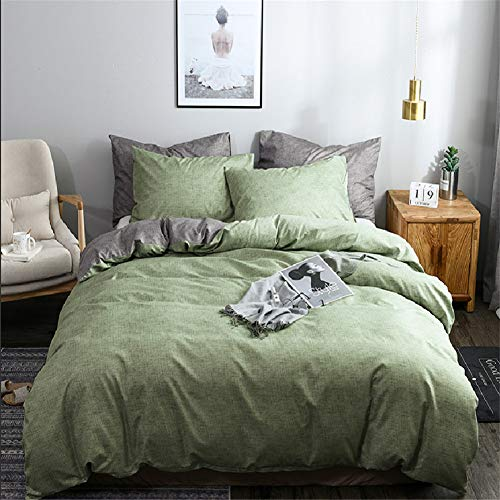 Argstar 3 Pcs Green Duvet Cover Queen Size, Reversible Texture Pattern Bedding Set with Zipper, Lightweight Microfiber Comforter Cover, 1 Duvet Cover and 2 Pillowcovers