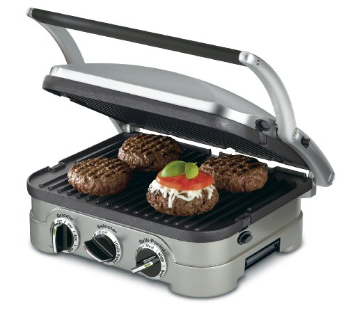 """Cuisinart GR-4N 5-in-1 Griddler, 13.5""""(L) x 11.5""""(W) x 7.12""""(H), Silver with Silver/Black Dials"""