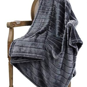 "Bertte Throw Blanket Super Soft Cozy Warm Blanket 330 GSM Lightweight Luxury Fleece Blanket for Bed Couch- 50""x 60"", Dark Grey"