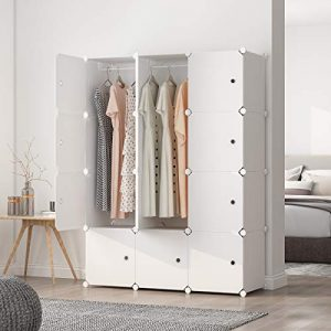 "MAGINELS Portable Wardrobe Closets 14""x18"" Depth Cube Storage, Bedroom Armoire, Storage Organizer with Doors, 12 Cubes, White"