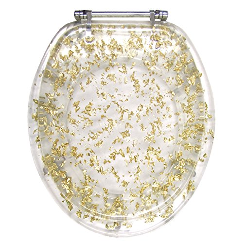 Ginsey Elongated Resin Toilet Seat with Chrome Hinges, Gold Foil