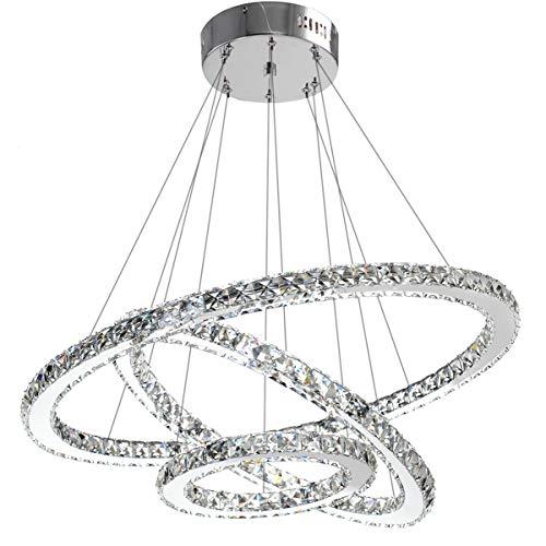 ANTILISHA Modern Crystal Chandelier Lighting Ceiling Dining Room Living Room Chandeliers Contemporary Led Light Fixtures Hanging 3 Ring Foyer Girls Bedroom Pendant Lights Cool White