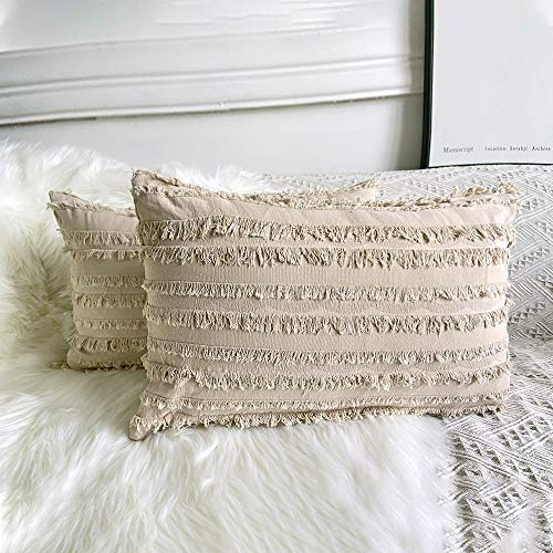 YIcabinet Set of 2 Decorative Boho Throw Pillow Covers Cotton Linen Striped Jacquard Pattern Cushion Covers for Sofa Couch Living Room Bedroom 12x20 Inch Light Khaki