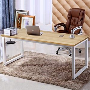 "63"" X-Large Computer Desk, Has Wide Workstation Tabletop for Writing,Games and Home Work,Modern Office Desk&Dining Table Made of The Finish Wood Board and Sturdy Steel Legs (Oak+White)"